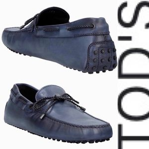 Tod's Mens or Women's Blue Leather Gommino Loafer